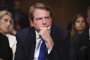 Then-White House counsel Don McGahn listens during a Senate judiciary committee hearing.