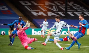 Christian Pulisic (second right) beats Crystal Palace's keeper Vicente Guaita to score his second, and Chelsea's fourth goal.
