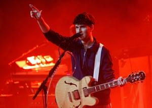 Ezra Koenig of Vampire Weekend on stage at EartH.