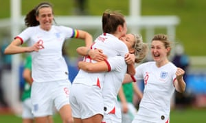 Ella Toone of England celebrates with teammates Rachel Daly, Ellen White and Jill Scott.