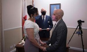 Brazilian Bruno Miani and his Brazilian partner Natalia Senna Alves de Lima get married at the Civil Status and Registration Office in Gibraltar.