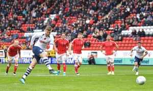 Preston's Paul Gallagher fires in the winning goal from the penalty spot.