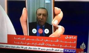 President Erdogan on mobile phone call to turkish TV station