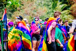 Supporters of marriage equality on a march in Melbourne earlier this year. Two-thirds of people endorse equal marriage according to the Scanlon report but opponents include a sizeable number of Coalition and independent party supporters.