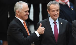 Malcolm Turnbull, left, with Labor leader Bill Shorten. Only a quarter of Australians born in this country have basic faith in its government, according to the annual Scanlon survey.