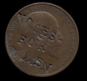 A 1903 penny, defaced with the slogan 'Votes for Women'.