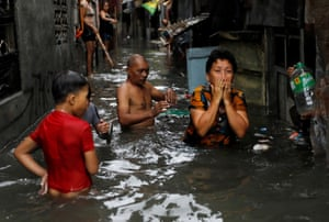 Flooding has hit the metropolitan area north of the Philippines capital Manila