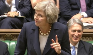 Theresa May speaks during her first session of Prime Minister's Questions