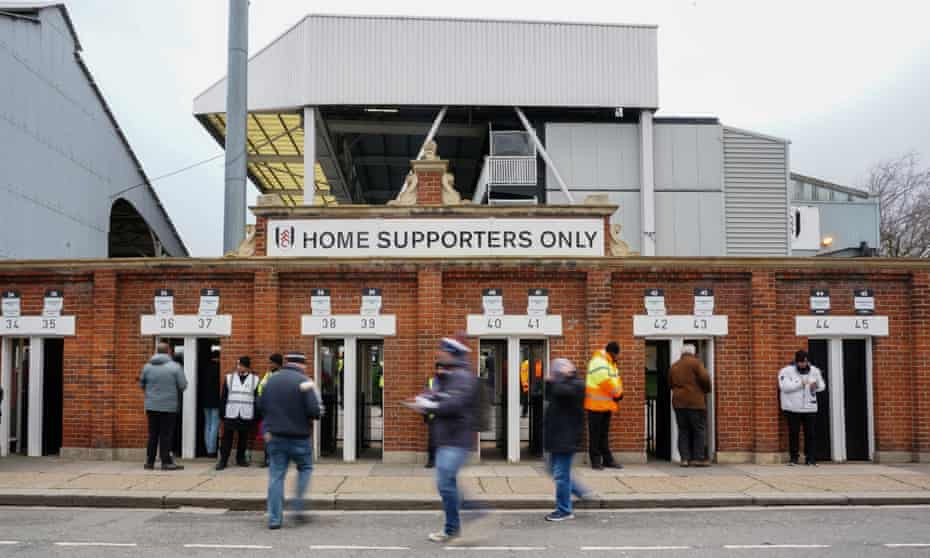 The Hammersmith End turnstiles at Fulham, pictured in February 2020.