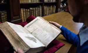 "Remy Cordonnier, librarian in the northern town of Saint-Omer, near Calais carefully shows an example of a valuable Shakespeare ""First Folio"", a collection of some of his plays, dating from 1623."