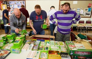 Men at the Subbuteo collectors fair in Renishaw, Derbyshire