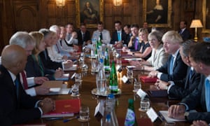 Space for some team-building activities … the Cabinet warming up at Chequers on Wednesday.