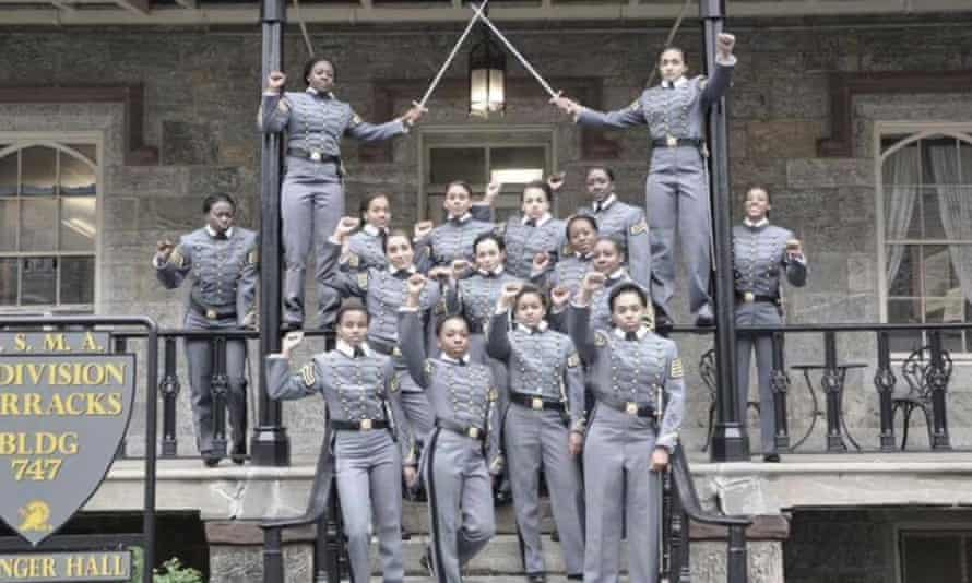 This image of 16 black, female West Point cadets in uniform with their fists raised attracted unwelcome attention after it was posted to Twitter.