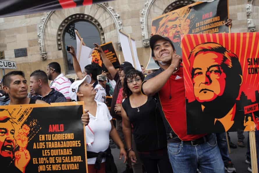 Supporters of presidential candidate Ricardo Anaya protest against leftist candidate Andres Manuel Lopez Obrador, before the start of the first presidential debate, in Mexico City last month.