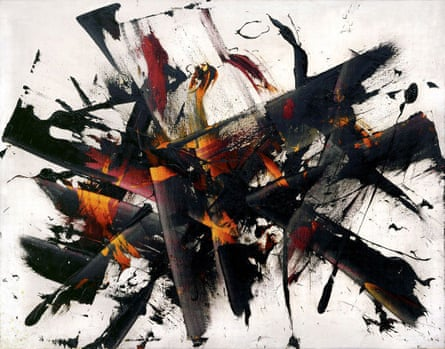 Outburst (Explosion), 1956, by Judit Reigl, private collection, Hungary. Intimations of trauma intensified in parallel with the Hungarian uprising in Budapest in 1956: abstract marks now suggested scuds of tank tracks, shells bursting.