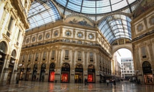 The nearly empty Galleria Vittorio Emanuele II in Milan when Lombardy went into lockdown on 8 March.