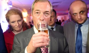 Nigel Farage, the leader of the United Kingdom Independence Party (UKIP), sips a drink at a Leave.eu party.