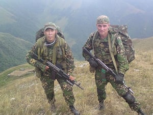 Dmitri Markelov (right), a contract soldier who later joined a private military company and was killed in Syria in 2017
