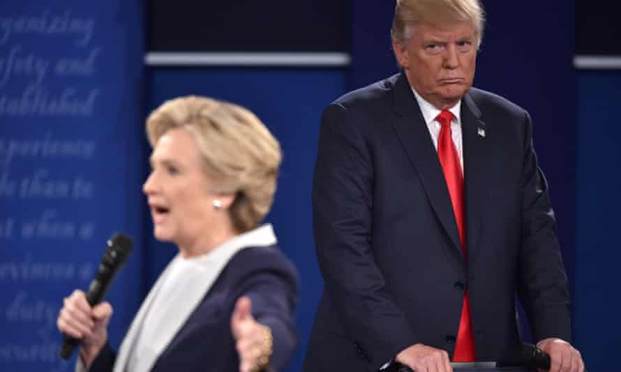 Donald Trump and Hillary Clinton during the second presidential debate in October 2016.
