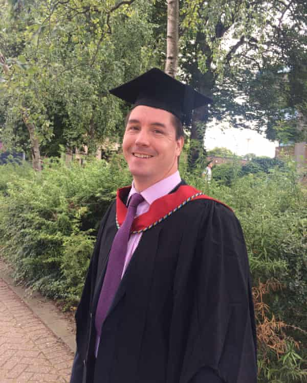 Dan Lintell, at his PGCE graduation last year. Teaching left him overwhelmed after a change of career from 20 successful years as a design engineer