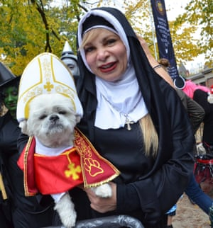 Michelle with her shih tzu Jojo as the pope