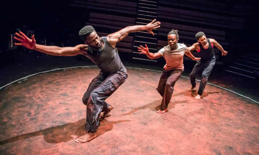 Sope Dirisu, Jonathan Ajayi and Anthony Welsh in the Young Vic's 2018 production of The Brothers Size, which was performed at Wandsworth prison.