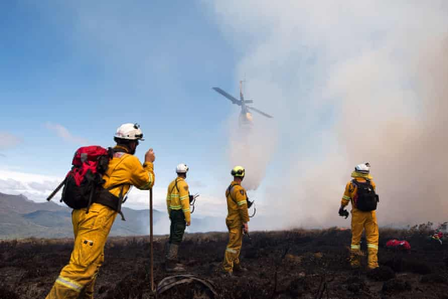Firefighters at the scene of a Tasmania wildfire