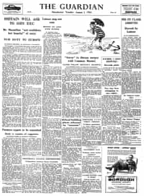 Guardian front page 1 August 1961