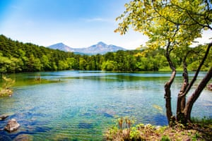 Japan Mount Bandai with lake and tree in Springtime
