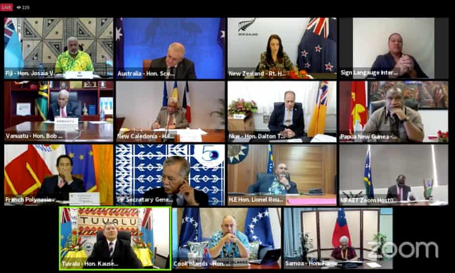 Leaders from Pacific countries, including Scott Morrison and Jacinda Ardern join the Pacific Islands Forum leaders meeting, held on Zoom on Friday 6 August.