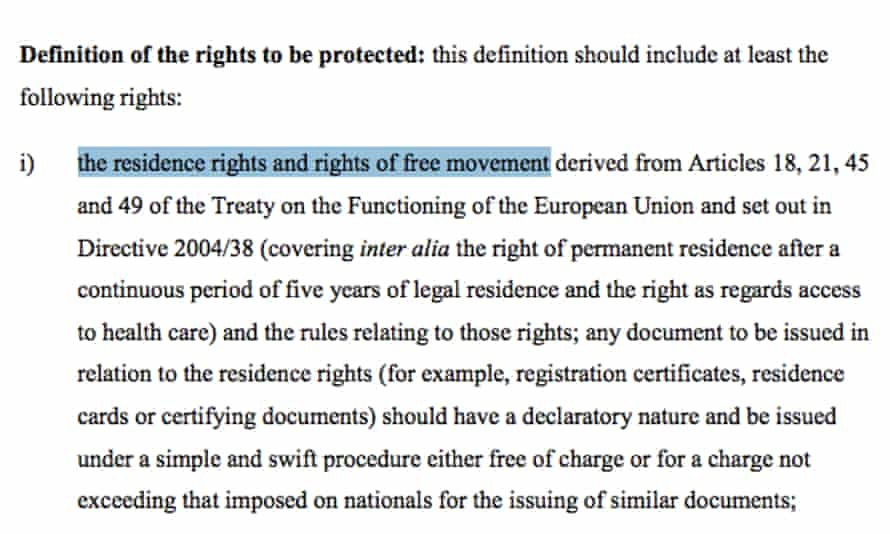Freedom of movement for Britons in the EU offer on citizens' rights.