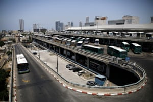 Buses parked at the Central Bus Station in Tel Aviv
