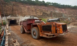 A truck collecting copper ore from below the surface at the Chibuluma copper mine in the Zambian copper belt region.