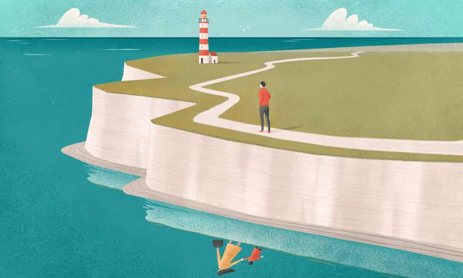 coastal isle of wight illustration with lighthouse