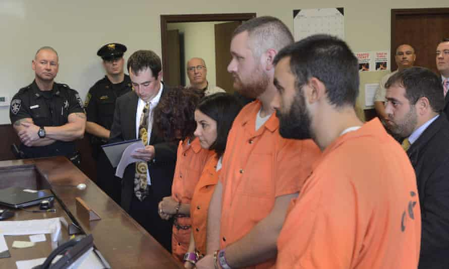 From left, Sarah Ferguson, 33, Linda Morey, 54, Joseph Irwin, 26, and David Morey, 26, are arraigned after being charged with the second-degree assault of 17-year-old Christopher Leonard.