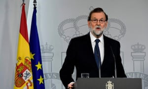 Spanish prime minister Mariano Rajoy speaks during a press conference at La Moncloa palace in Madrid.