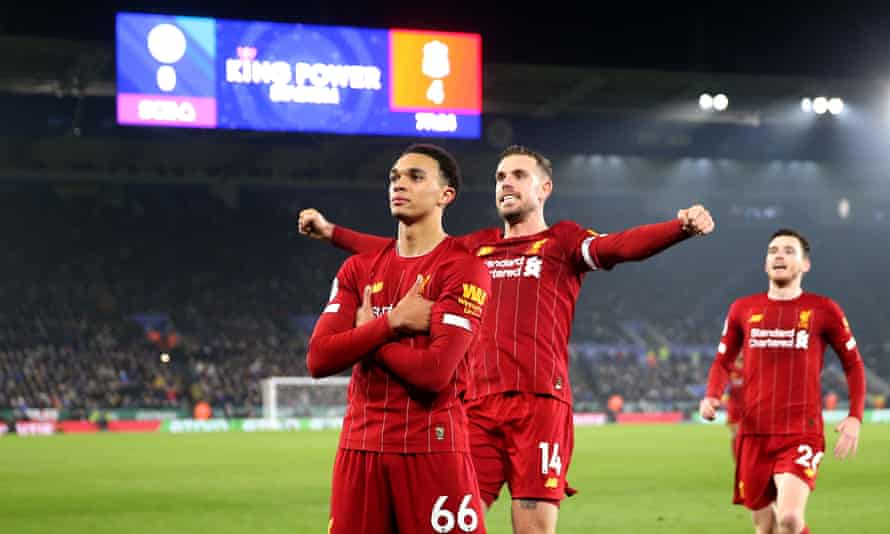 Trent Alexander-Arnold celebrates scoring Liverpool's fourth goal against Leicester on Boxing Day.