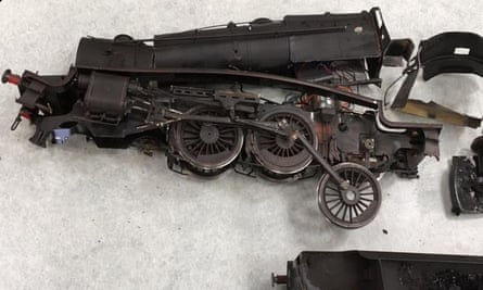A photo issued by the Market Deeping Model Railway Club of a damaged model.