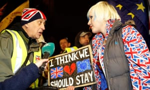 Pro- and anti-Brexit activists outside Parliament on the night MPs called on Theresa May to renegotiate the Irish backstop.