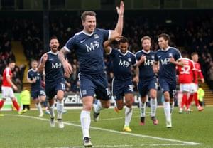 Cox celebrates scoring for Southend against Charlton last season.