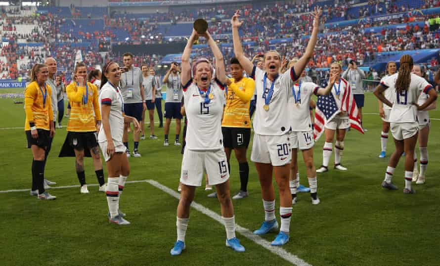 Megan Rapinoe and USA teammates celebrate after winning the Women's World Cup, 7 July