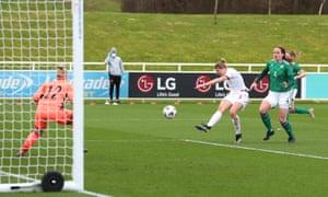 White scores England's fourth goal.