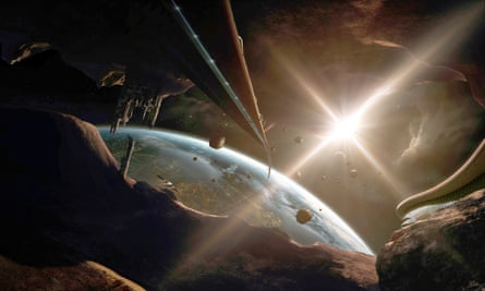 An artist's impression of a mining colony on an asteroid.