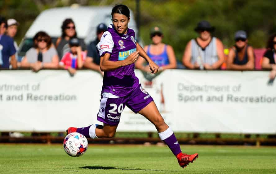Sam Kerr, here in action for Perth Glory in the W-League last week.