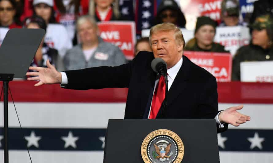 Donald Trump at a rally in Valdosta, Georgia, in December, at which he accused the Fulton county elections supervisor, Richard Barron of criminal electoral fraud.