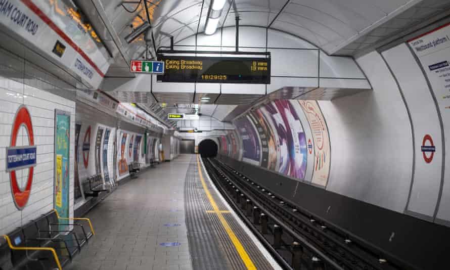 An empty platform at Tottenham Court Road tube station