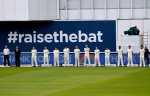 England players observe a minutes silence.