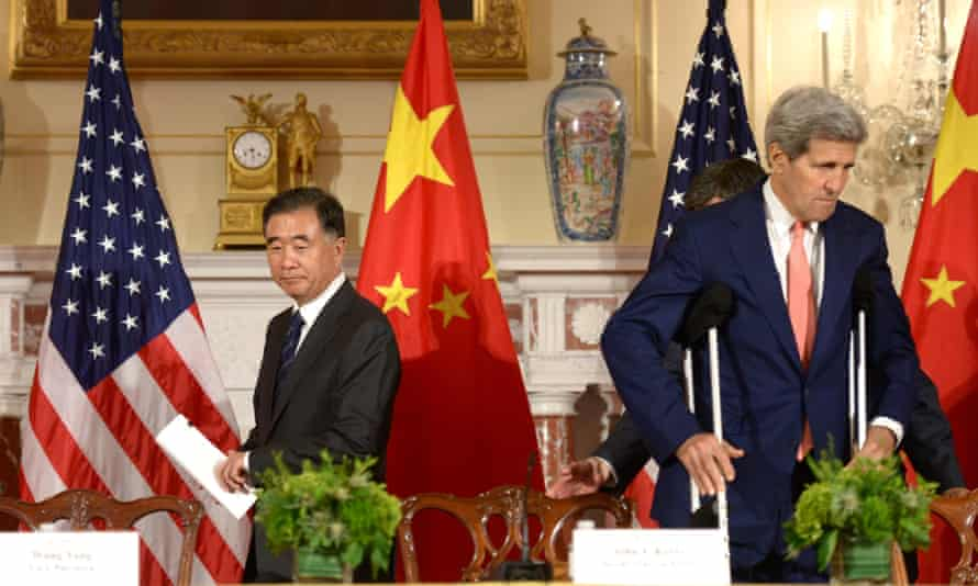 The vice premier of China, Wang Yang (left) and the US secretary of state, John Kerry, attend a joint press conference during high-level talks in Washington DC.
