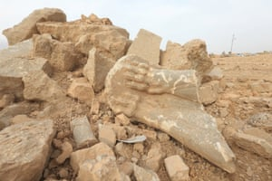 Lost artefacts … remains of wall panels and statues destroyed by Islamic State militants in Iraq.