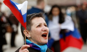 A supporter in Simferopol after Russian annexation of Crimea.